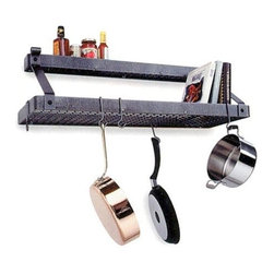 "Enclume - Premier Wall Mounted Deep Bookshelf Pot Rack W/Shelf Hammered Steel - Dimensions: 36""L x 13""D x 17""H"