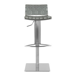 Safavieh - Safavieh Mitchell Gas Lift Barstool X-D1003XOF - The Mitchell Gas Lift Barstool offers stylish comfortable seating that adjusts with the flip of a lever. Its sturdy square base, sleek pedestal and footrest in stainless steel are contrasted seats and backs in basket-woven strips of grey bonded-leather.