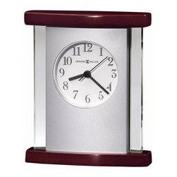 Howard Miller - Howard Miller Hyatt Table Top Clock - Howard Miller - Mantel / Table Clocks - 645662 - This contemporary table top clock has a time-tested appeal and offers a certain character for your desk or mantel. Distinguished by its tri-panel glass face backed by satin silver sides with an inset white dial the Hyatt has a glowing upscale style to it. A curved Rosewood Hall base and top and reliable quartz movement operation complete the look and appeal of the Hyatt Table Top Clock.