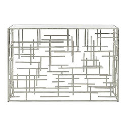 Worlds Away - The Jacob Iron Console |Silver by Worlds Away - Silver Leaf Abstract Console With Mirror Top
