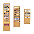 Lesro - 3 Pc Pocket Magazine Rack Set (Cherry) - Finish: Cherry. Keep magazines and brochures organized and easily accessible with this set of three magazine racks, ideal for a waiting room, reception area or front desk. The furniture quality racks are crafted of wood in your choice of finishes and can be mounted on the wall or used as stand alone units when paired with optional feet. Includes: Four Pocket Magazine Rack, Seven Pocket Magazine Rack and Ten Pocket Magazine Rack. Solid oak uprights with chrome plated hooks. Furniture quality construction and 2 Leg Magazine Bases. Four Pocket Magazine Rack:. Inside Dimension: 9 in. W x 0.75 in. D x 12 in. H. Overall Dimensions: 11 in. W x 3.75 in. D x 26 in. H. Seven Pocket Magazine Rack:. Inside Dimension: 9 in. W x 0.75 in. D x 12 in. H. Overall Dimensions: 11 in. W x 3.75 in. D x 37.5 in. H. Ten Pocket Magazine Rack:. Inside Dimension: 9 in. W x 0.75 in. D x 12 in. H. Overall Dimensions: 11 in. W x 3.75 in. D x 49 in. H