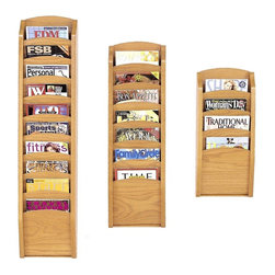 Lesro - 3 Pc Pocket Magazine Rack Set (Medium) - Finish: Medium. Keep magazines and brochures organized and easily accessible with this set of three magazine racks, ideal for a waiting room, reception area or front desk. The furniture quality racks are crafted of wood in your choice of finishes and can be mounted on the wall or used as stand alone units when paired with optional feet. Includes: Four Pocket Magazine Rack, Seven Pocket Magazine Rack and Ten Pocket Magazine Rack. Solid oak uprights with chrome plated hooks. Furniture quality construction and 2 Leg Magazine Bases. Four Pocket Magazine Rack:. Inside Dimension: 9 in. W x 0.75 in. D x 12 in. H. Overall Dimensions: 11 in. W x 3.75 in. D x 26 in. H. Seven Pocket Magazine Rack:. Inside Dimension: 9 in. W x 0.75 in. D x 12 in. H. Overall Dimensions: 11 in. W x 3.75 in. D x 37.5 in. H. Ten Pocket Magazine Rack:. Inside Dimension: 9 in. W x 0.75 in. D x 12 in. H. Overall Dimensions: 11 in. W x 3.75 in. D x 49 in. H