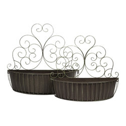 "IMAX CORPORATION - Avellino Wall Planter - Set of 2 - Featuring scrolled iron designs, this set of two wall planters are a great way to add organic elements to any room. Simply hang on the wall and use to display your favorite trailing greenery.  Set of 2 planters measuring 20""H x 8.25""W x 23""L and 24""H x 10""W x 26""L each. Find home furnishings, decor, and accessories from Posh Urban Furnishings. Beautiful, stylish furniture and decor that will brighten your home instantly. Shop modern, traditional, vintage, and world designs."