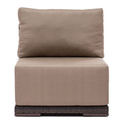 Grandin Road - Park Island Middle Chair - All-weather polypropylene weave over weather-resistant aluminum frames. Select an Armchair, Corner Chair, Middle Chair, or Ottoman; each piece is sold separately. Included natural-hued cushions are wrapped in water- and UV-resistant fabric. All pieces arrive assembled. Clean surfaces with a dry cloth; cushions with a damp cloth and mild fabric cleaner. Create your own collection with the versatile, overstuffed style of our Park Island Outdoor seating Collection. Modular pieces rearrange effortlessly, so you can transform your setting from an afternoon lounge to an evening celebration in moments. Natural-hued cushions complement the mocha-hued, all-weather woven forms.. . . . . Imported.