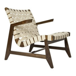 Greenbelt Lounge - No Brass Tacks, Walnut Finish, Natural Cotton