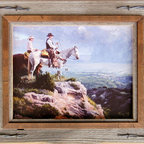 MyBarnwoodFrames - Western Frames with Barbed Wire 11x14 Hobble Creek Series l - Western  Frames  for  the  Cowboy  in  You          One  of  these  western  frames  crafted  from  barnwood  and  barbed  wire  are  a  novel  way  to  showcase  your  western  art  and  photography.  Rugged,  natural  and  rustic,  they'll  accent  your  western  decor,  and  each  makes  a  great  gift  for  the  cowboy  or  cowgirl  you  know  who  has  a  taste  for  primitive  decor.  We  start  with  a  piece  of  sun-drenched,  wind-brushed  barnwood  and  add  a  distressed  alder  overlay.  We  finish  the  whole  thing  off  with  a  little  bit  of  barbed  wire.  The  only  gift   your  ranch  hands  will  like  better  would  be  a  big  porterhouse  steak  (and  you  can  always  pick  up  one  of  those  too).          Product  Specifications:                  11x14  photo  opening              Exterior  dimensions  approximately  13x16              Frame  includes  backing,  glass,  and  hardware  for  hanging              Materials  include  reclaimed  barnwood,  rustic  alder  wood,  and  barbed  wire.              Please  note: due  to  the  nature  of  barnwood,  your  frame  may  vary  slightly  in  color  or  texture  from  the  one  pictured  here.  Image  is  for  display  purposes  only  and  is  not  included.