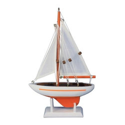 """Handcrafted Model Ships - Pacific Sailor Orange - White Sails 9"""" - Not a model ship kit"""