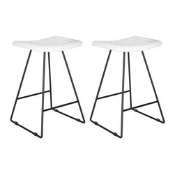 Safavieh - Akito Counter Stool  (Set Of 2) - Raise the bar for fashion in the kitchen or family room with the airy look and clean silhouette of the Akito counter stool. A comfy channel-quilted seat of white PU leather rests atop a whisper thin A-line frame of iron supported by sturdy crossbars.
