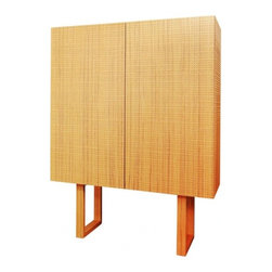 ecofirstart - Bertoli Sideboard - How hip is this square cabinet? It's crafted of beautiful and ecofriendly teak with an exterior featuring an intricately carved grid pattern for added texture. Inside, there are shelves and drawers galore for all your storage needs.