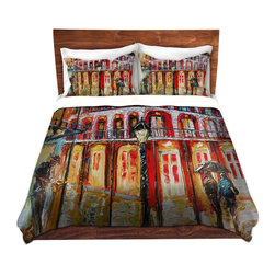 DiaNoche Designs - Duvet Cover Microfiber - New Orleans French Quarter - DiaNoche Designs works with artists from around the world to bring unique, artistic products to decorate all aspects of your home.  Super lightweight and extremely soft Premium Microfiber Duvet Cover (only) in sizes Twin, Queen, King.  Shams NOT included.  This duvet is designed to wash upon arrival for maximum softness.   Each duvet starts by looming the fabric and cutting to the size ordered.  The Image is printed and your Duvet Cover is meticulously sewn together with ties in each corner and a hidden zip closure.  All in the USA!!  Poly microfiber top and underside.  Dye Sublimation printing permanently adheres the ink to the material for long life and durability.  Machine Washable cold with light detergent and dry on low.  Product may vary slightly from image.  Shams not included.