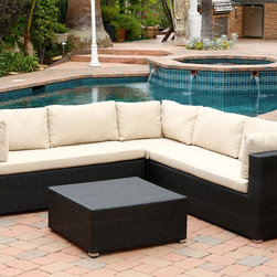 Abbyson Living - Abbyson Living Pasadena Outdoor Black Wicker Sectional and Ottoman Set - Relaxing by the pool will be even easier with this lovely black wicker sectional and ottoman set. Sit around after a nice swim and chat with friends,or place this sectional on your deck and look out over your yard for a calming view.