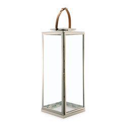 Kathy Kuo Home - Marcus Large Modern Floor Candle Lantern with Leather Handle - Buckle up. You are about to be ignited by this striking candle lantern. Standing at 40-inches tall, crafted from brass and finished in polished nickel with a strapping leather handle, it will appeal to your rugged and chic nature brilliantly.
