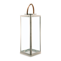 Marcus Modern Floor Candle Lantern with Leather Handle, Large