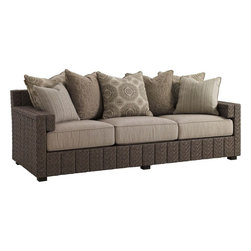 Lexington - Tommy Bahama Blue Olive Sofa - The contemporary channel design is a signature element of the Blue Olive collection. Each vertical channel features a striking herringbone weave of all-weather wicker. The unique double-arm offers a generous armrest while creating a stylish inset below the arm that cradles the edge of the seat cushion.