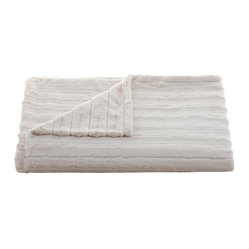 Belle & June - Lux Channel Stripe Ivory Throw - Wrap yourself in a luxurious embrace with this throw blanket. A great gift to give or receive, use it to add layers of texture and color to your bed, sofa or chaise.
