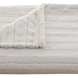 Lux Channel Stripe Ivory Rosebud Throw