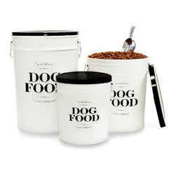 Bon Chien Food Storage canister - 11 Gallon - Bistro inspirations are evident in the Bon Chien Food Storage Canister, a stylish black-and-white lidded cylinder of recycled steel made to hold a forty-pound bag of dry dog food in a clean, airtight space.  The durable and eco-friendly construction is as appealing as the lettering, which mimics French cafe signage for a whimsical effect that coordinates with upscale kitchen styles.