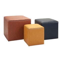 "Imax - Autumn Colors Clark Square Ottomans - Set of 3 - *Dimensions: 13.25-17.25""h x 12.25-19.25""w x 12.25-19.25"""
