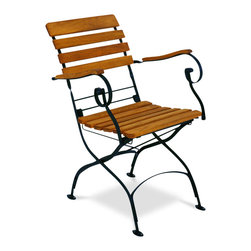 Haste Garden - Rebecca Folding Armchair - - The black frame is made from steel, powder-coated and baked-on enamel paint for outdoor use.