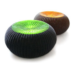 Spinball Outdoor Wicker Patio Table - These outdoor tables/ottomans are great for many reasons. They look great, come in a variety of colors and can multi-task. They would create a great conversation area and bring fun color to your patio or deck.