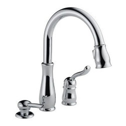 DELTA FAUCET - Lead Law Compliant 1.8 GPM Kitchen Pull Down Faucet with Soap Dispenser - Features: