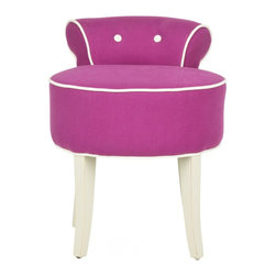 Safavieh - Georgia Vanity Stool, Fuchsia With Cream Piping - The adorable Georgia vanity chair is petite enough to tuck in a bathroom or bedroom, and brimming with feminine style. Graceful birch wood legs finished in ivory, a deep seat and diminutive button tufted back are designed for indulgent comfort. The Georgia chair is upholstered in fuchsia textured cotton fabric with contrasting white welting for a decorator touch.