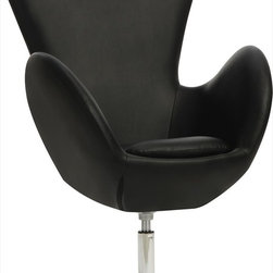 Coaster - Swivel Chair, Black - This contemporary swivel chair in black features a high back for support, sleek curved arms and a chrome base.