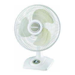 "Lasko - 12"" Oscillating Premium Table Fan, 3 Speeds - The Lasko 2501 12 In. Premium Table Fan, in white, is quiet and efficient. The convenient front-Mounted rotary control manages the three speed-settings easily. The Tilt-Back feature and wide area oscillation provides a custom breeze. Plus, the compact, ""go anywhere"" design facilitates portability.12-Inch table fan with convenient front-Mounted rotary control."