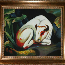 "overstockArt.com - Franz Marc - The Bull Oil Painting - The Bull is a handmade oil painting originally created by Franz Marc in the 1900's. It would make a wonderful gift for anyone who loves western art. Franz Marc was born on February 8, 1880, in Munich, Germany. He studied at the Munich Art Academy, and in the early years of the Twentieth Century became an influential figure in the birth of abstract art. In 1911 Marc founded the almanac ""Der Blaue Reiter"" along with Wassily Kandinsky, and was a principal member of the First German Salon Automne in 1913. Much of his work was based upon exuberant color and profound emotional and spiritual states. Franz Marc saw animals as innocent beings in harmony with nature. He attempted to paint the world from the animal's perspective. Marc volunteered for service in World War I, and was killed near Verdun, France, on March 4, 1916. Despite his early death at the age of thirty-six, Marc was responsible for some of the most important pieces of the Expressionist movement. Why not grace your home with this reproduced masterpiece? It is sure to bring many admirers!"