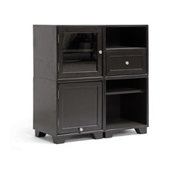 "Wholesale Interiors - Alaska Dark Brown Modular Storage Cabinet - The more the merrier: four repositionable cube-shaped storage compartments will keep your family organized. The Alaska Modern Storage Cabinet includes one each of a tempered glass door cabinet, wooden door cabinet, drawer/shelf open cabinet, and adjustable-position wooden shelf open cabinet. This Malaysian-made modern cabinet features a frame made of both rubberwood and MDF and is completed with a wenge dark brown wood veneer as well as silver metal hardware. Each of the four modular units includes its own set of legs, so you can position these individually, as a vertical tower, as a horizontal row, or stacked two by two. Please note we do not include hardware or brackets to connect each modular unit to the next, so they are not secured to one another. This cabinet set requires assembly and should be wiped clean with a dry cloth. 33.125"" H x 31"" W x 16"" L."