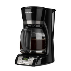 Applica - Black and Decker 12-Cup Coffee Maker - Programmable clock. Perfect pour duralife carafe. Quicktouch programming. Sneak-a-cup feature. Nonstick keep hot carafe plate. Special carafe collar keeps drips and spills off the counter. Dishwasher-safe. Removable filter basket. 120V-975 watts. Warranty: Two years limitedEnjoy hassle-free simplicity and convenience with the coffeemaker that offers fast, easy programming plus the no-mess serving of perfect pour carafe.