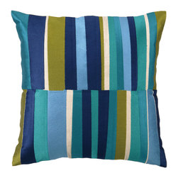 """Trina Turk - Trina Turk Watercolor Stripe Blue Embroidered Linen Pillow - Fluid strokes of tonal blues and greens converge for a graphic stained glass effect in the energetic Watercolor Stripe throw pillow by Trina Turk. Handcrafted with a focus on contemporary style for your bedroom, den or living space. Pillow measures 20"""" x 20""""; Linen pillow with embroidered detail; Hidden zipper closure; Down pillow insert included"""
