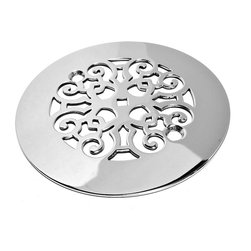 """Designer Drains - Classic Scrolls No. 4 Shower Drain, Brushed Stainless Steel/Nickel - Brushed Stainless Steel drain made to fit Sioux Chief Rough-Ins, which measure 4 1/4"""" in Diameter and have a 2 5/8"""" center to center of the fastening holes. Includes stainless steel fasteners. Made in the USA"""
