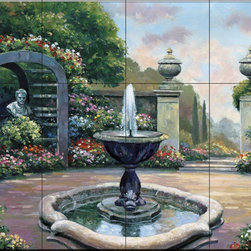 The Tile Mural Store (USA) - Tile Mural - Renaissance Garden - Jz - Kitchen Backsplash Ideas - This beautiful artwork by John Zaccheo has been digitally reproduced for tiles and depicts a colorful garden with fountain.  This garden tile mural would be perfect as part of your kitchen backsplash tile project or your tub and shower surround bathroom tile project. Garden images on tiles add a unique element to your tiling project and are a great kitchen backsplash idea. Use a garden scene tile mural for a wall tile project in any room in your home where you want to add interesting wall tile.