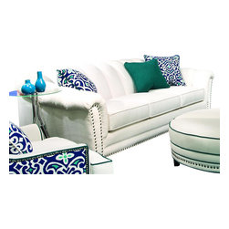 Chelsea Home Furniture - Chelsea Home Channel Sofa in Heavenly Oyster with Accent Pillows - Channel sofa in Heavenly Oyster with Accent Pillows belongs to the Chelsea Home Furniture collection