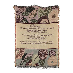 n/a - Woven Tapestry `Mother You Held My Hand` Throw Blanket 46 In. X 67 in. - This woven tapestry throw blanket is a wonderful gift for your mother. It features a sentimental verse in the center with flowers and leaves on the top and bottom and fringe around the border. It measures 46 inches wide, 67 inches long, and is the perfect weight for snuggling up to read a good book or to watch TV. The blanket is 100% cotton and recommended care instructions are to machine wash in cold water in a gentle cycle with mild detergent, and tumble dry. Made in the USA.