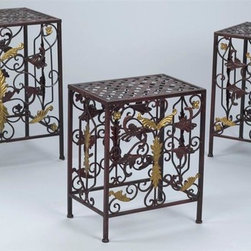 AA Importing - Metal Plant Stand in Antique Red Finish - Set - Set of 3. Features leaf and scrollwork design and basket weave top on each table  . Metal with Antique Gold painted accents. Set includes small, medium and large stands. Small: 14.5 in. L x 10 in. W x 18 in. H. Medium: 17 in. L x 12 in. W x 20.5 in. H. Large: 20 in. L x 14 in. W x 22 in. H