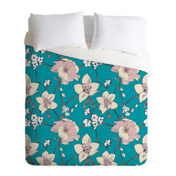 DENY Designs - Rachelle Roberts Painted Poppy In Turquoise Duvet Cover - Turn your basic, boring down comforter into the super stylish focal point of your bedroom. Our Luxe Duvet is made from a heavy-weight luxurious woven polyester with a 50% cotton/50% polyester cream bottom. It also includes a hidden zipper with interior corner ties to secure your comforter. it's comfy, fade-resistant, and custom printed for each and every customer.