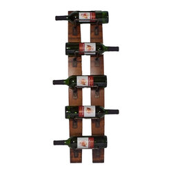 2 Day Designs - 2 Day Designs Reclaimed 5-Bottle Wall Mounted Wine Rack Multicolor - 4100 - Shop for Wine Bottle Holders and Racks from Hayneedle.com! Add rustic style with a contemporary edge to your home with the 5-Bottle Wine Rack by 2-Day Designs. This unique hanging wine rack is made from oak wine barrel staves and gently arches away from the wall. Iron racks hold up to five wine bottles and the lovely rustic pine finish adds a gorgeous element. Dimensions: 8W x 5D x 35H inches.About 2-Day Designs Inc.2-Day Designs Inc. is a proud manufacturer of unique home furnishings. For those looking for a little something different browse the company's collections and you will certainly find it with designs that will make a statement in any room of your home. From dining tables and chairs to occasional tables and from hutches and cupboards to keepsake boxes and trunks you are sure to fall in love with something from the 2-Day Designs collections. Environmentally conscious 2-Day Designs uses recycled antique lumber whenever possible. All 2-Day Designs pieces are crafted with the highest quality standards from start to finish.