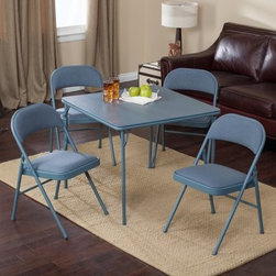 Meco Sudden Comfort Deluxe Double Padded Chair and Back- 5 Piece Card Table Set - Add the Sudden Comfort 5-Piece Card Table Set - Cadet Blue to your kids' game room so they can enjoy a more realistic game of Go Fish! With its watery blue powder-paint finish and matching vinyl upholstery, this table and chair set is comfortable for hours of playing board games, assembling puzzles, or hosting tea parties. The classic square card table has a sturdy steel frame supporting a hardboard top with vinyl covering. The legs fold flat for storage and have E-Z action slide leg locks for quick set up or tear down. Both the extra-wide seats and contoured backs of the four included chairs are fabric covered and padded with 1.5-inch-thick high density foam. The quality Y-frame design and triple-welded leg braces guarantee that the chairs won't collapse, even when supporting a bouncy child. The table top is covered in vinyl, which quickly wipes clean if your kids spill food, drinks, fingerpaint, or Play-Doh. Non-marring leg caps prevent the table and chairs from scuffing your floors or snagging on the carpet.
