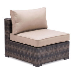 Zuo - Bocagrande Outdoor Middle Chair - The Bocagrande Middle Chair is part of a transitional set with a low profile.  The brown synthetic weave is great for all types of weather conditions and the lightweight, but durable aluminum frame makes it easy to configure the pieces for any space.  The weaving features an ombre pattern giving a fresh spin on a classic set.  The overstuffed cushions are included and are comfy enough to enjoy long hours of visiting with friends or kicking back for an outdoor nap.  Keep it simple and neutral or spice things up by adding pops of color with outdoor throw pillows.  The Bocagrande outdoor collection includes a corner chair, middle chair, ottoman and coffee table – each sold separately.