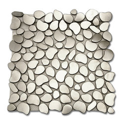 """GlassTileStore - Cobblestone Brushed Silver Metal Tiles - Cobblestone Brushed Silver Metal Tiles          This clean geometric design with the metal stainless steel is chic and visually striking. The tile will provide any room with a sleek, stylish and contemporary appearance. This is a great alternative to use for in a kitchen backsplash, feature wall or as decorative borders. Please note this tile is not recommended to be installed on the floor.            Chip Size: 3/4""""    Color: Stainless Steel   Material: Metal    Finish: Brushed Matte   Sold by the Sheet - each sheet measures 11 1/2 x 11 1/2 (.92sq. ft.)   Thickness: 8mm   Please note each lot will vary from the next.            - Glass Tile -"""