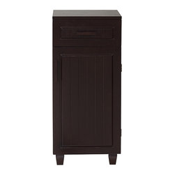 None - Covington 1 Door/ Drawer Floor Cabinet - Use this wood floor cabinet to accent any room while increasing your storage space. Featuring a sleek, contemporary design, this cabinet has an espresso finish for aesthetic value and is perfect for storing papers, tools, and other supplies.