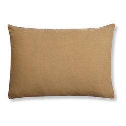 """The Linen Works - Mustard Velvet/Linen Cushion Cover - two sizes, 16"""" X 12"""" - Absolutely luxurious, this sumptuous Silk Velvet Cushion Cover actually shimmers.    Soft mustard front with a Dove Grey linen backing.  Available in Mustard, China Blue, Slate Green and Taupe."""