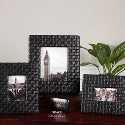 Maulana, Photo Frames, S/3 - Woven, faux leather straps finished with a weathered, dark coffee stain and a light tan glaze.