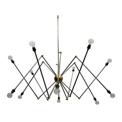 Spider S Chandelier - Striking angles and surprising turns define the frame of the Spider S Chandelier, a construction of thin rods and round bulbs that makes the classic chandelier fresh and angular for a more updated transitional home. Crowning the room in spindly contrasting joints to bring crisp, angular form to the space, this hanging light is a superb choice for higher-ceilinged spaces.