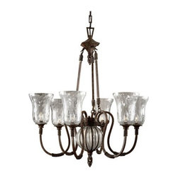 Uttermost - Uttermost 21045 6 Light Single Tier Chandelier fro the Galeana Collection - Uttermost 21045 Carolyn Kinder Galeana 6-Lt ChandelierMouth blown glass banded and structured with iron, and trimmed with rope and open weave touches, then finished with clay patinas to make this casually elegant lighting a statement piece wherever it's used.Features: