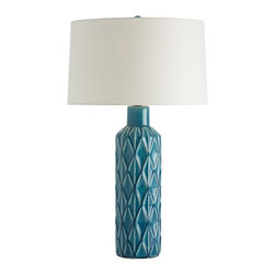 """Arteriors - Nevada Lamp - Another mid-century inspired ceramic design that has been amped up with an aqua blue art glaze.  The cylinder shape and small footprint make it perfect for a nightstand or small side table.  The color will brighten any room.  The drum shade is made of an ivory microfiber.  Ceramic finial to match.  Base: 6"""" round x 18 1/2"""" h  Socket Wattage: 150  Switch Color: Black  Switch Location: At Socket  Switch Type: 3-Way Rotary  Cord Color: Clear/Silver  Microfiber Shade: 17"""" w x 17"""" d x 10"""" h"""