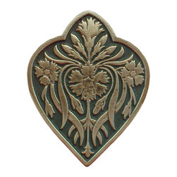 "Inviting Home - Dianthus Knob (antique brass-sage) - Hand-cast Dianthus Knob in antique brass-sage finish; 1-1/2""W x 1-7/8""H Product Specification: Made in the USA. Fine-art foundry hand-pours and hand finished hardware knobs and pulls using Old World methods. Lifetime guaranteed against flaws in craftsmanship. Exceptional clarity of details and depth of relief. All knobs and pulls are hand cast from solid fine pewter or solid bronze. The term antique refers to special methods of treating metal so there is contrast between relief and recessed areas. Knobs and Pulls are lacquered to protect the finish. Alternate finishes are available. Detailed Description: The Dianthus knobs bring the sophisticated feel the antique homey feel to your cabinets. These pulls will be a great accent to old-world cabinets as well as bringing a polished feel to any antiqued furniture. Sometimes antique finish ends up looking a bit shabby and drabby but installing these knobs will make the cabinets pure chic. It would be a better choice to keep with Dianthus pulls if you would like to use them in conjunction with the pulls. Dianthus knobs are part of English Garden Hardware Collection. Reflecting the meticulous effort that produced these stunning gardens from a bygone era each of the knobs and pulls in this line features individually hand-cast and hand-finished design work. There are soft graceful roses and poppies (McKenna's Rose knobs and Poppy Knobs) reminiscent of classic beauty and elegance. While other like Dianthus Pulls or Mountain Ach knobs feature crisply detailed styling with colorful background. Each knob's design marries Mother Nature and Craftsmanship into decorative hardware that adds beauty to any room of your home"