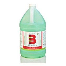 Boulder Cleaners Dish Liquid - Apple - 128 Oz - Boulder Apple Dishwashing Liquid removes the toughest grease and stains using a non-toxic, 100% natural, plant based cleansing formula. This delicately apple-scented, invigorating blend of hardworking, eco-friendly ingredients effectively cleans stuck on food grease from pots and pans with a generous rich lather, leaving dishes sparkling and residue-free. Boulder 100% Natural Cleaners are made Colorado. The inspiration from this health-oriented and environmentally conscious area led to a product that works great while being 100% natural and biodegradable.